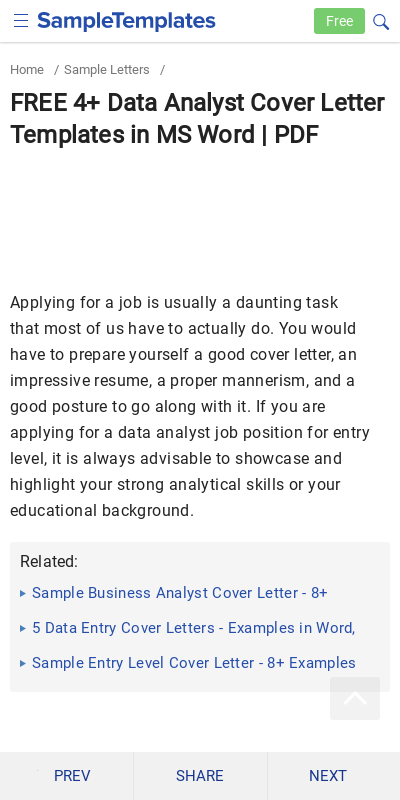 Entry Level Data Analyst Cover Letter 20 Guides Examples