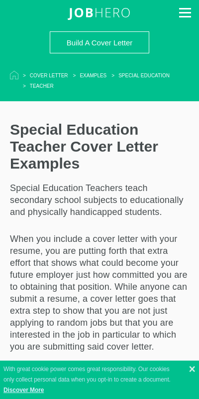 Sample Cover Letters For Special Education Teachers 20 Guides Examples