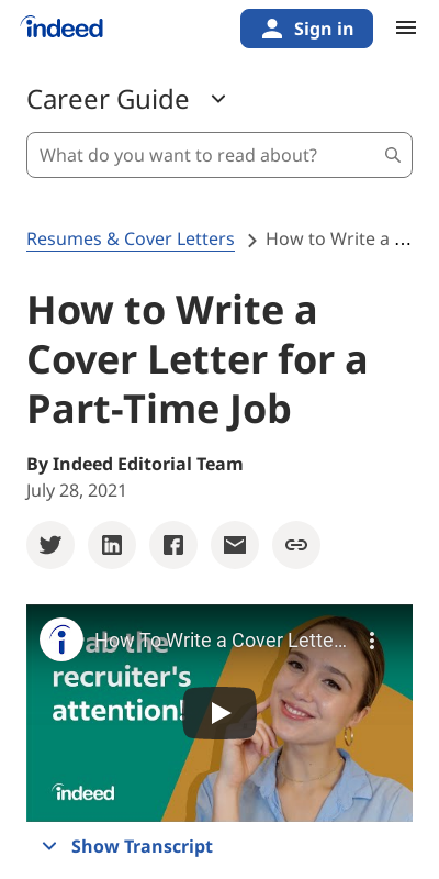 Part Time Cover Letters 20 Guides Examples