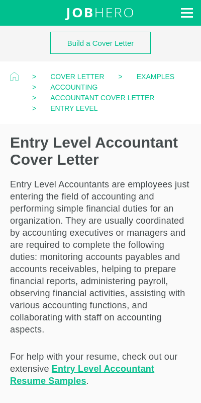 Entry Level Accounting Cover Letter Sample 20 Guides Examples