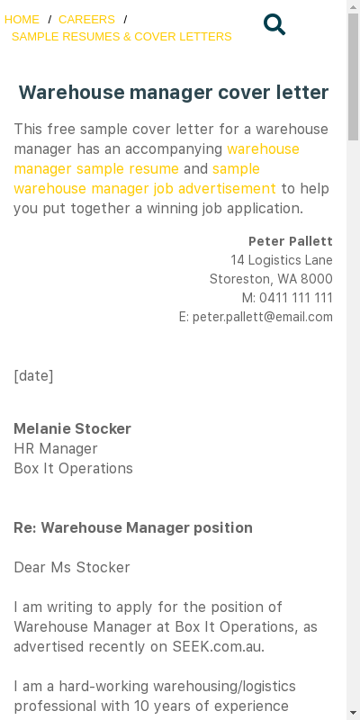 Warehouse Manager Cover Letter 20 Guides Examples