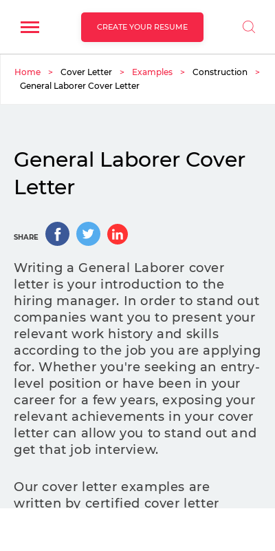 General Labor Cover Letter No Experience 20 Guides Examples