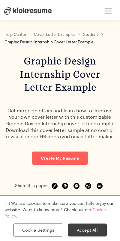 Graphic Design Internship Cover Letter 20 Guides Examples