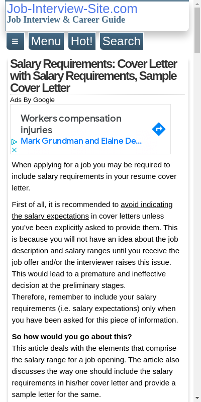 Salary Requirement Letter Example 20 Guides Examples