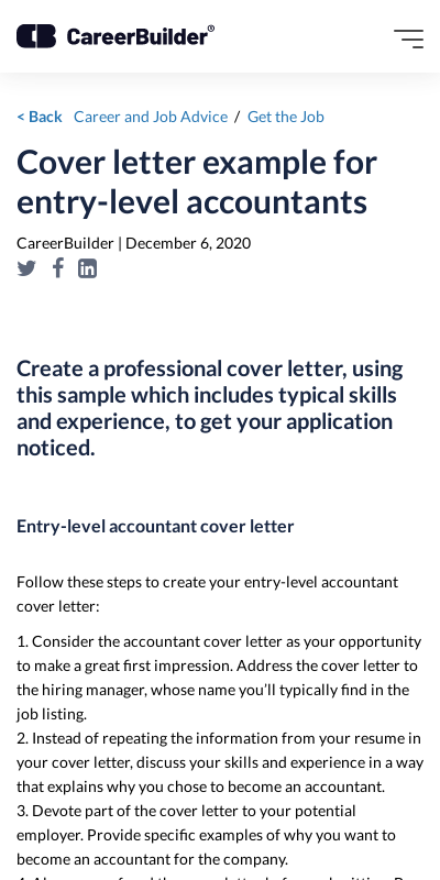 Accounting Cover Letter Examples 20 Guides Examples