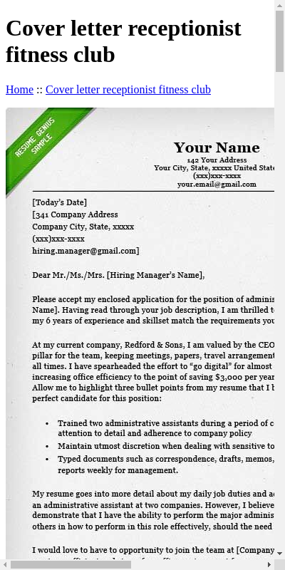 Gym Cover Letter 20 Guides Examples