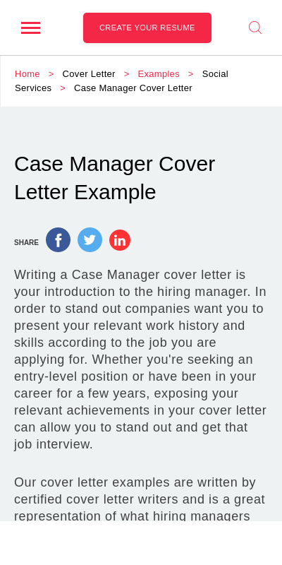 Sample Cover Letter For Case Manager Position 20 Guides Examples