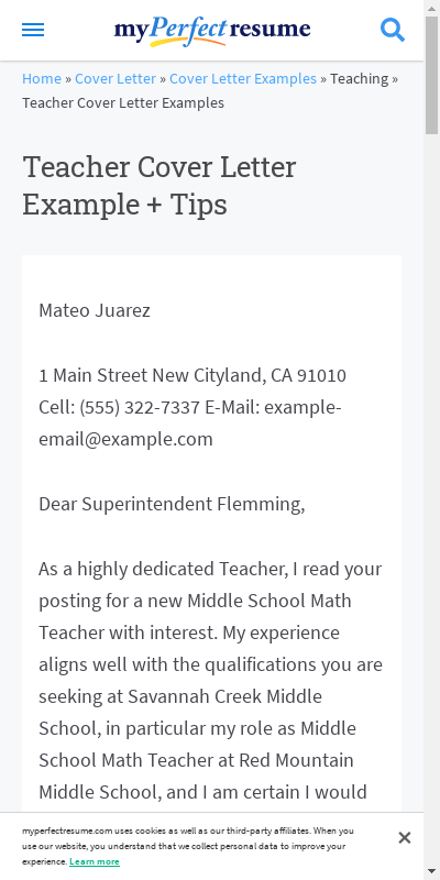 Cover Letter For Math Teacher 20 Guides Examples