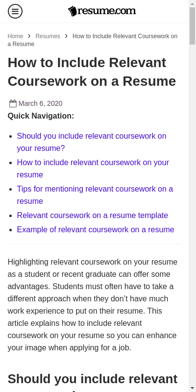 How To Include Coursework In Resume
