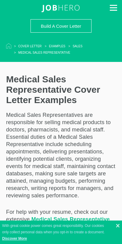 Cover Letter Medical Device Sales 20 Guides Examples