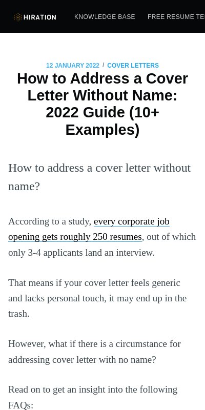 What If You Don T Know The Hiring Manager S Name For Cover Letter 20 Guides Examples