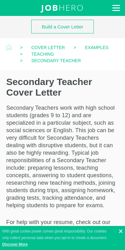 Secondary Teacher Cover Letter 20 Guides Examples