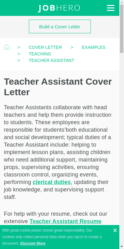 Teaching Assistant Covering Letter 20 Guides Examples