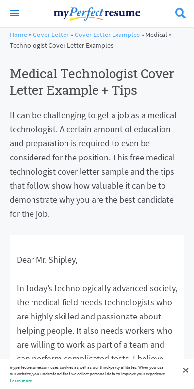 Medical Technologist Cover Letter 20 Guides Examples