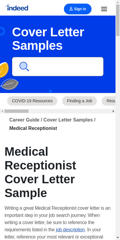 Medical Receptionist Cover Letter Sample 20 Guides Examples