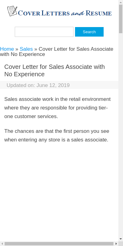 Cover Letter For Retail Sales Associate With No Experience 20 Guides Examples
