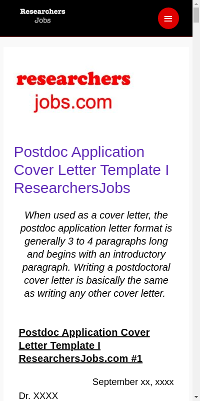 Postdoc Application Cover Letter 20 Guides Examples
