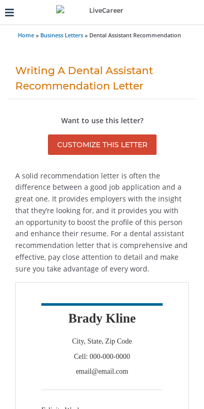 Letter Of Recommendation For Dental Assistant 20 Guides Examples