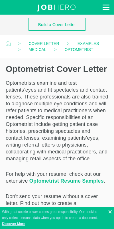 Optometrist Cover Letter 20 Guides Examples