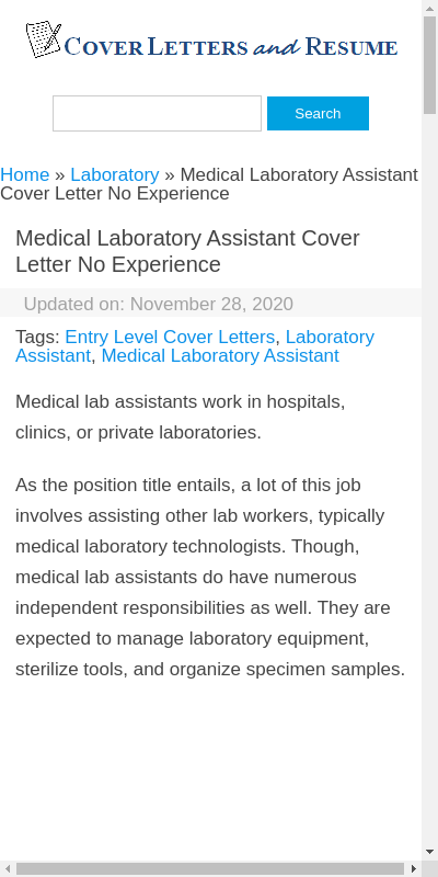 Cover Letter For Lab Assistant With No Experience 20 Guides Examples