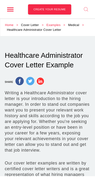 Cover Letter For Healthcare Management Position 20 Guides Examples