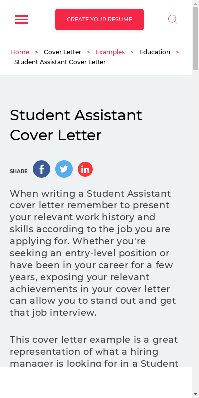 Student Assistant Cover Letter 20 Guides Examples