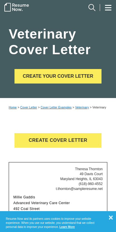 Veterinary Cover Letter Example 20 Guides Examples