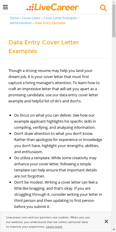 Sample Data Entry Cover Letter 20 Guides Examples