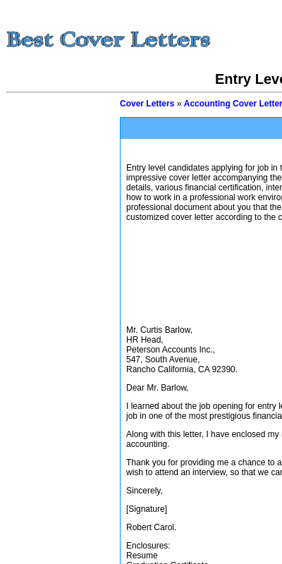 Entry Level Accountant Cover Letter 20 Guides Examples