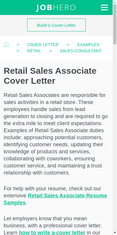 Sample Cover Letter For Retail Sales 20 Guides Examples
