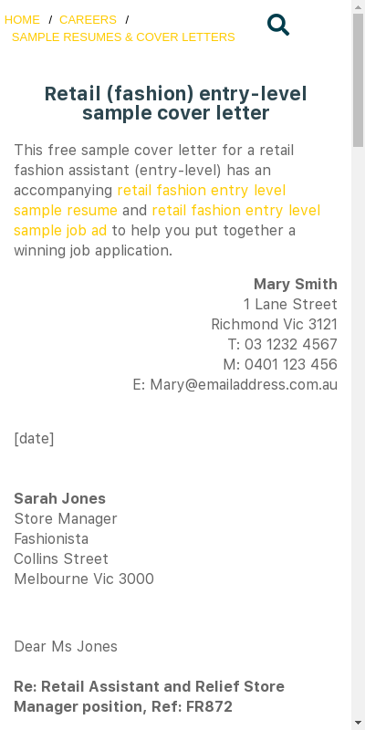 Cover Letter For Fashion Retail Assistant Top Display Excellent